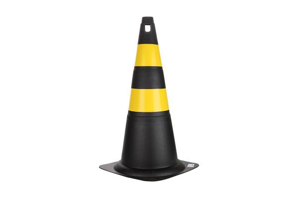 Cone Rigido 70cm Preto/Amarelo