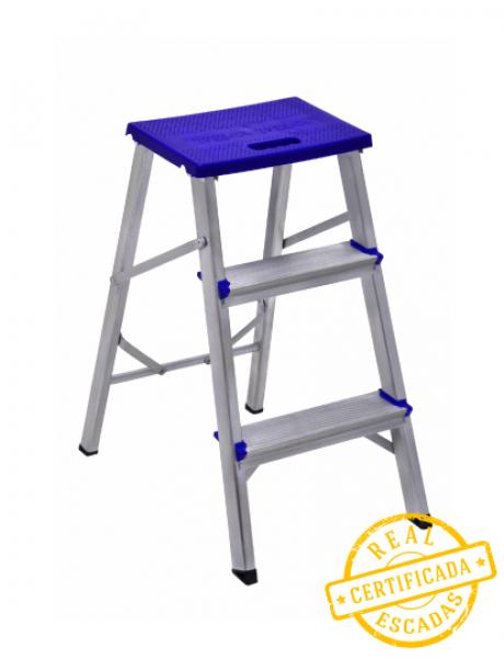 Escada Banqueta Aluminio Real 3 degraus