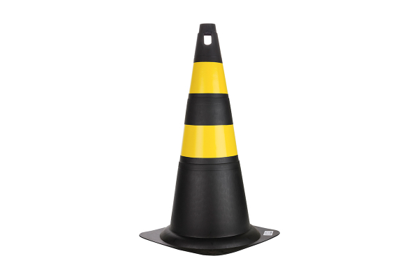 Cone Rigido 50cm Preto/Amarelo